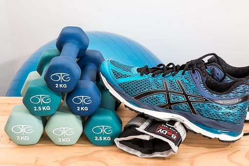 therapy types exercise dumbbells and shoes
